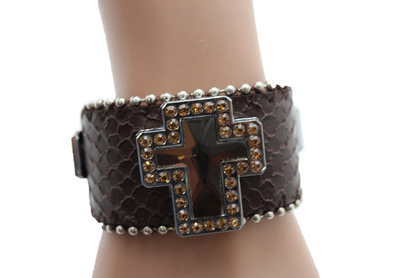 Brown Leather Bracelet Big Silver Crosses Silver Rhinestones Bead New Women Fashion Jewelry Accessories - alwaystyle4you - 11