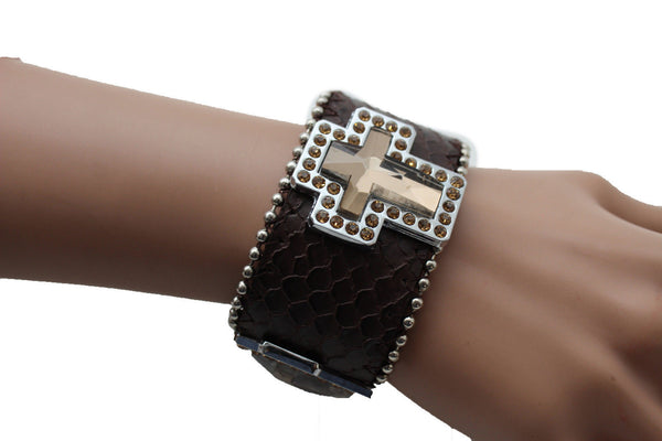 Brown Leather Bracelet Big Silver Crosses Silver Rhinestones Bead New Women Fashion Jewelry Accessories - alwaystyle4you - 12