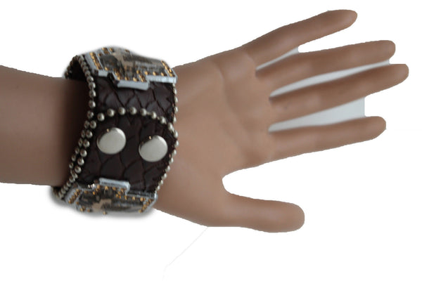 Brown Leather Bracelet Big Silver Crosses Silver Rhinestones Bead New Women Fashion Jewelry Accessories - alwaystyle4you - 2