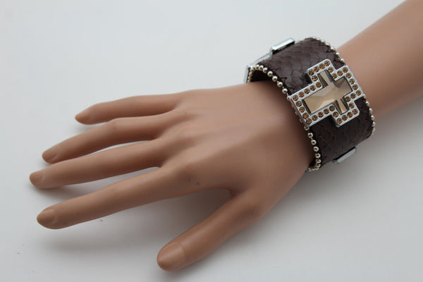 Brown Leather Bracelet Big Silver Crosses Silver Rhinestones Bead New Women Fashion Jewelry Accessories - alwaystyle4you - 3
