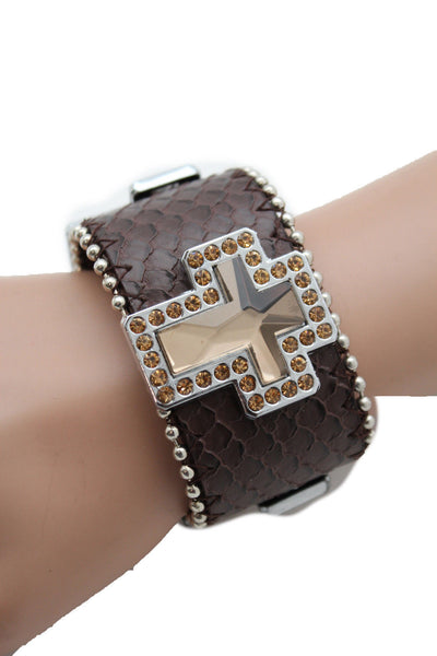 Brown Leather Bracelet Big Silver Crosses Silver Rhinestones Bead New Women Fashion Jewelry Accessories - alwaystyle4you - 4