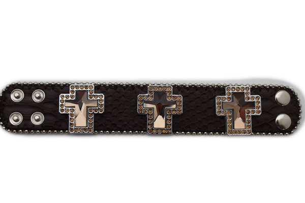 Brown Leather Bracelet Big Silver Crosses Silver Rhinestones Bead New Women Fashion Jewelry Accessories - alwaystyle4you - 5