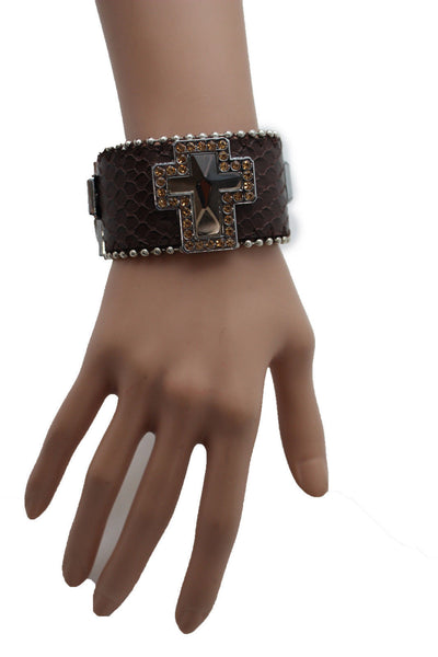Brown Leather Bracelet Big Silver Crosses Silver Rhinestones Bead New Women Fashion Jewelry Accessories - alwaystyle4you - 6