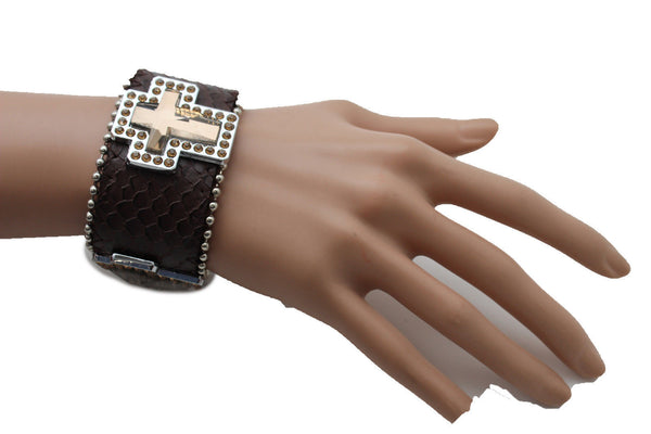 Brown Leather Bracelet Big Silver Crosses Silver Rhinestones Bead New Women Fashion Jewelry Accessories - alwaystyle4you - 7