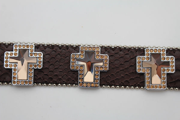 Brown Leather Bracelet Big Silver Crosses Silver Rhinestones Bead New Women Fashion Jewelry Accessories - alwaystyle4you - 8