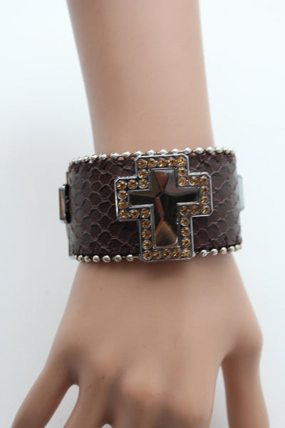 Brown Leather Bracelet Big Silver Crosses Silver Rhinestones Bead New Women Fashion Jewelry Accessories - alwaystyle4you - 9