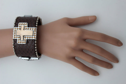 Brown Leather Bracelet Big Silver Crosses Silver Rhinestones Bead New Women Fashion Jewelry Accessories - alwaystyle4you - 1