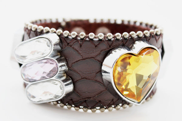 Brown Black Leather Bracelet Colorful Rhinestones Bead New Women Fashion Jewelry Accessories - alwaystyle4you - 13