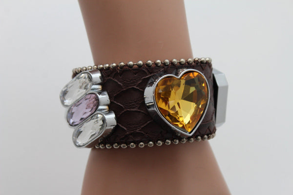 Brown Black Leather Bracelet Colorful Rhinestones Bead New Women Fashion Jewelry Accessories - alwaystyle4you - 14