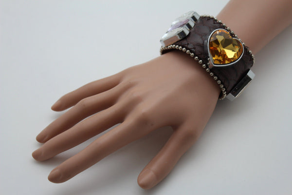 Brown Black Leather Bracelet Colorful Rhinestones Bead New Women Fashion Jewelry Accessories - alwaystyle4you - 6