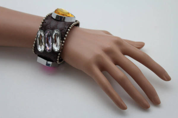Brown Black Leather Bracelet Colorful Rhinestones Bead New Women Fashion Jewelry Accessories - alwaystyle4you - 12