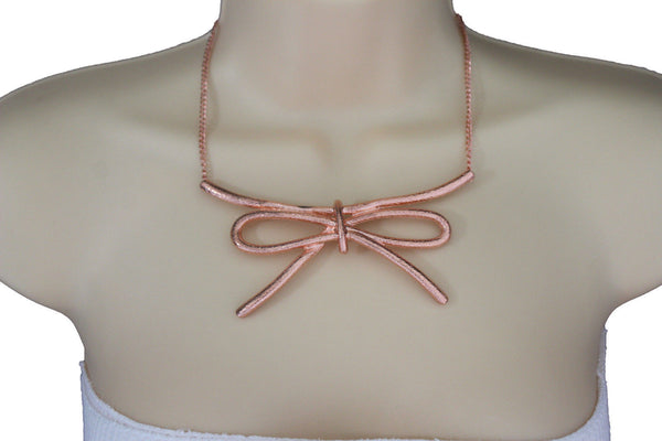 Copper / Silver Metal Chain Knot Bow Tie Charm Pendant Necklace + Earrings Set New Women Fashion Jewelry - alwaystyle4you - 12