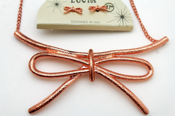 Copper / Silver Metal Chain Knot Bow Tie Charm Pendant Necklace + Earrings Set New Women Fashion Jewelry - alwaystyle4you - 3