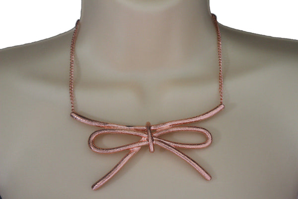 Copper / Silver Metal Chain Knot Bow Tie Charm Pendant Necklace + Earrings Set New Women Fashion Jewelry - alwaystyle4you - 2