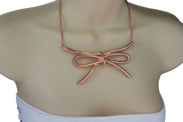 Copper / Silver Metal Chain Knot Bow Tie Charm Pendant Necklace + Earrings Set New Women Fashion Jewelry - alwaystyle4you - 5