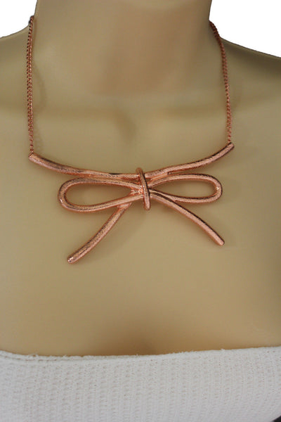 Copper / Silver Metal Chain Knot Bow Tie Charm Pendant Necklace + Earrings Set New Women Fashion Jewelry - alwaystyle4you - 6