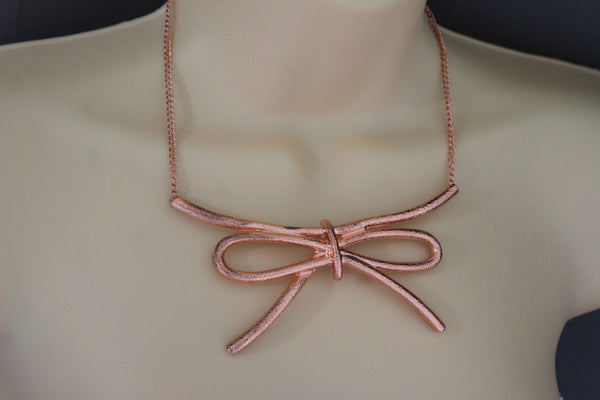 Copper / Silver Metal Chain Knot Bow Tie Charm Pendant Necklace + Earrings Set New Women Fashion Jewelry - alwaystyle4you - 8