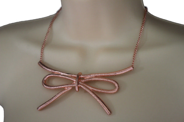 Copper / Silver Metal Chain Knot Bow Tie Charm Pendant Necklace + Earrings Set New Women Fashion Jewelry - alwaystyle4you - 9