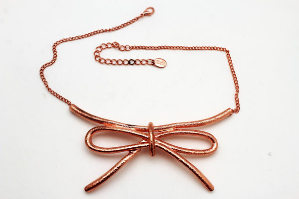 Copper / Silver Metal Chain Knot Bow Tie Charm Pendant Necklace + Earrings Set New Women Fashion Jewelry - alwaystyle4you - 10
