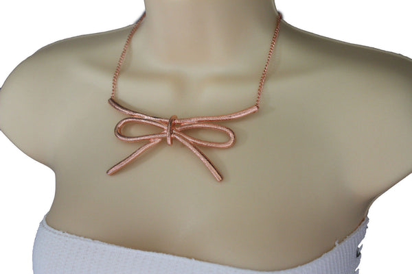 Copper / Silver Metal Chain Knot Bow Tie Charm Pendant Necklace + Earrings Set New Women Fashion Jewelry - alwaystyle4you - 11