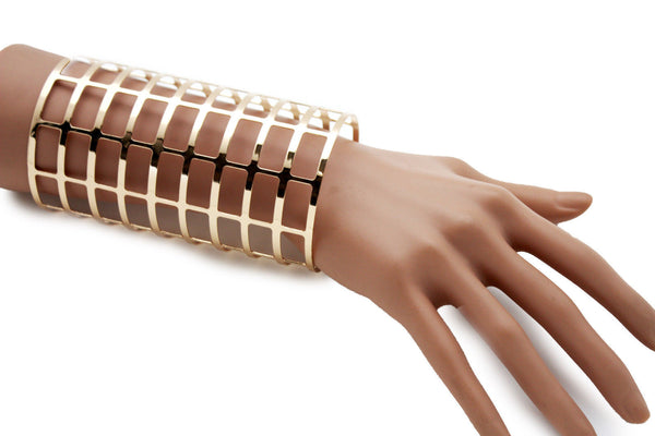 Gold Metal Cuff Bracelet Extra Long Stripes Cut Outs Adjustable New Women Fashion Jewelry Accessories - alwaystyle4you - 5