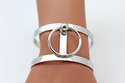 Silver Metal Cuff Bracelet Bangle Geometric Cut Outs With A Center Ring Adjustable New Women Fashion Jewelry Accessories - alwaystyle4you - 1