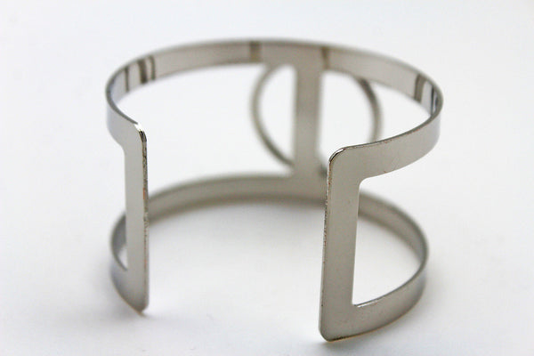 Silver Metal Cuff Bracelet Bangle Geometric Cut Outs With A Center Ring Adjustable New Women Fashion Jewelry Accessories - alwaystyle4you - 2