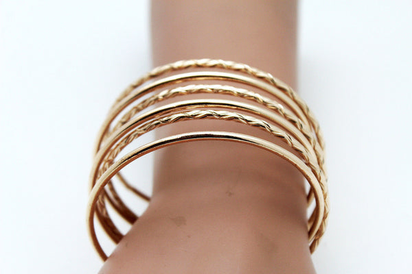 Gold / Silver Metal Cuff Bracelet Bangles String Spring Adjustable New Women Fashion Jewelry Accessories - alwaystyle4you - 11