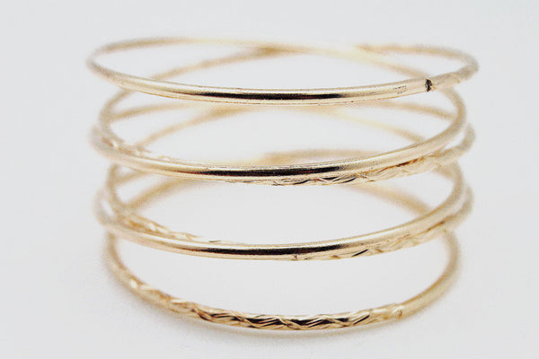 Gold Silver Metal Cuff Bracelet Bangles String Spring Adjustable New Women Accessories