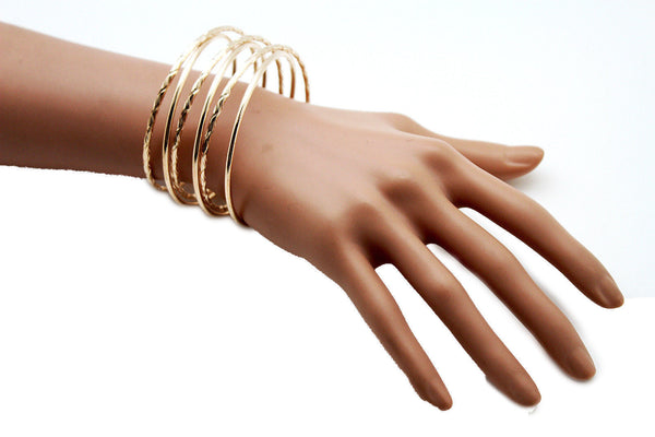 Gold / Silver Metal Cuff Bracelet Bangles String Spring Adjustable New Women Fashion Jewelry Accessories - alwaystyle4you - 4
