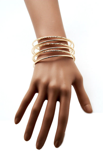 Gold / Silver Metal Cuff Bracelet Bangles String Spring Adjustable New Women Fashion Jewelry Accessories - alwaystyle4you - 5