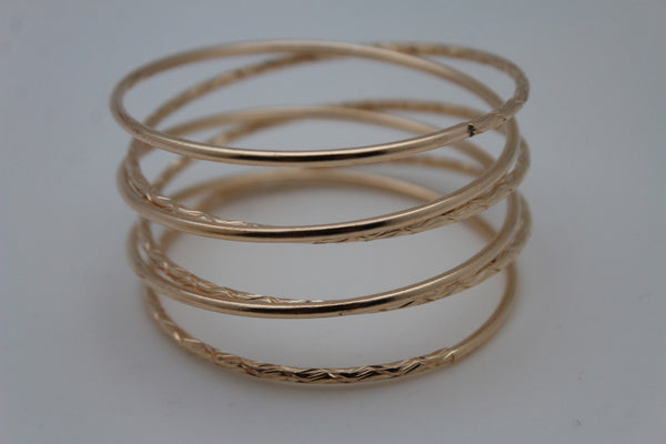 Gold / Silver Metal Cuff Bracelet Bangles String Spring Adjustable New Women Fashion Jewelry Accessories - alwaystyle4you - 6