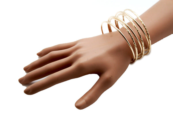 Gold / Silver Metal Cuff Bracelet Bangles String Spring Adjustable New Women Fashion Jewelry Accessories - alwaystyle4you - 8