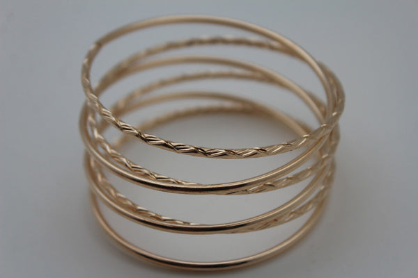 Gold / Silver Metal Cuff Bracelet Bangles String Spring Adjustable New Women Fashion Jewelry Accessories - alwaystyle4you - 9