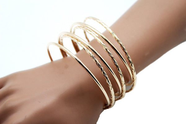 Gold / Silver Metal Cuff Bracelet Bangles String Spring Adjustable New Women Fashion Jewelry Accessories - alwaystyle4you - 2