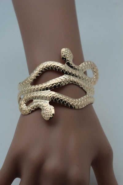 Gold / Silver Metal Cuff Bracelet Cobra Snake Trendy Wrap Around New Women Fashion Jewelry Accessories - alwaystyle4you - 13