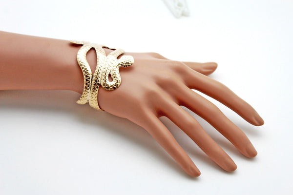 Gold / Silver Metal Cuff Bracelet Cobra Snake Trendy Wrap Around New Women Fashion Jewelry Accessories - alwaystyle4you - 4