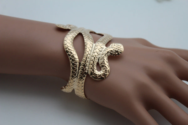 Gold / Silver Metal Cuff Bracelet Cobra Snake Trendy Wrap Around New Women Fashion Jewelry Accessories - alwaystyle4you - 7
