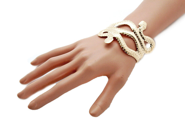 Gold / Silver Metal Cuff Bracelet Cobra Snake Trendy Wrap Around New Women Fashion Jewelry Accessories - alwaystyle4you - 9