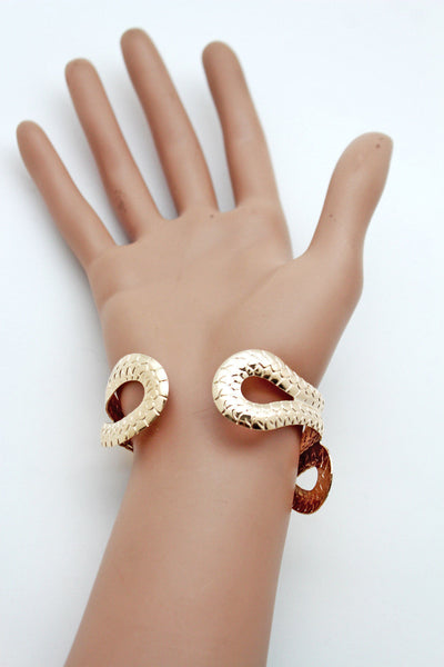 Gold / Silver Metal Cuff Bracelet Cobra Snake Trendy Wrap Around New Women Fashion Jewelry Accessories - alwaystyle4you - 10