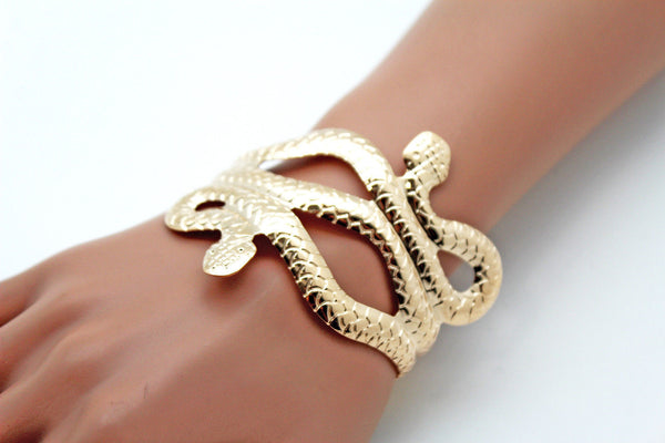 Gold / Silver Metal Cuff Bracelet Cobra Snake Trendy Wrap Around New Women Fashion Jewelry Accessories - alwaystyle4you - 12