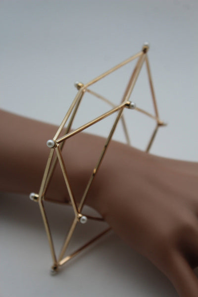 Gold Metal Cuff Bracelet Large Geometric Shape Pearl Beads New Women Fashion Jewelry Accessories - alwaystyle4you - 11