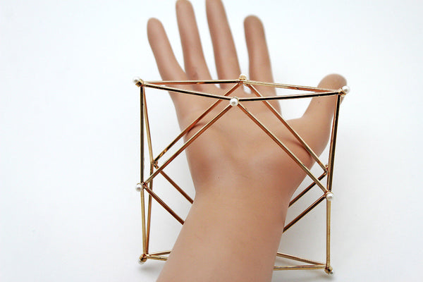 Gold Metal Cuff Bracelet Large Geometric Shape Pearl Beads New Women Fashion Jewelry Accessories - alwaystyle4you - 2