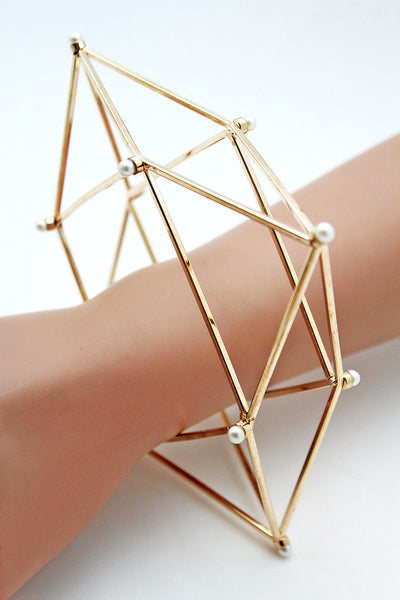 Gold Metal Cuff Bracelet Large Geometric Shape Pearl Beads New Women Fashion Jewelry Accessories - alwaystyle4you - 1