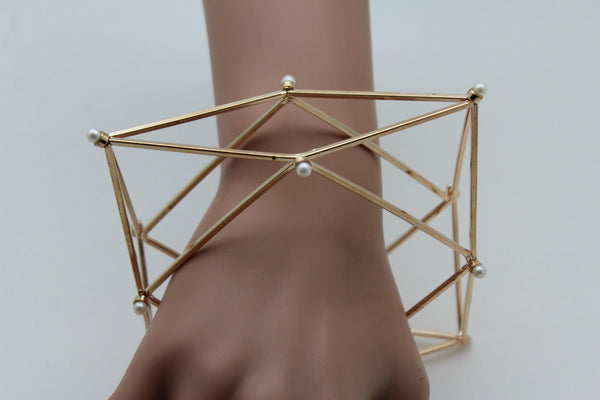 Gold Metal Cuff Bracelet Large Geometric Shape Pearl Beads New Women Fashion Jewelry Accessories - alwaystyle4you - 4