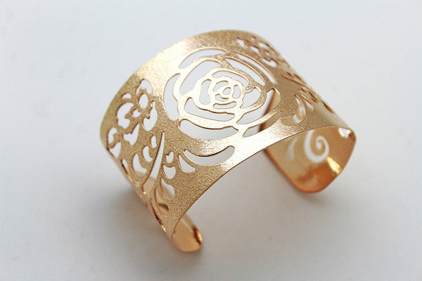 Gold Metal Cuff Cut Outs Adjustable Bracelet Light Flowers New Women Fashion Jewelry Accessories - alwaystyle4you - 3