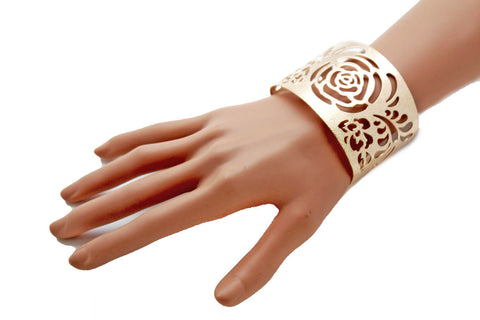 Gold Metal Cuff Cut Outs Adjustable Bracelet Light Flowers New Women Fashion Jewelry Accessories - alwaystyle4you - 4
