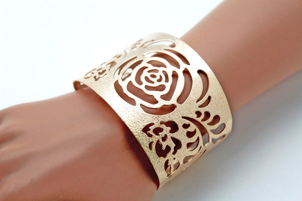 Gold Metal Cuff Cut Outs Adjustable Bracelet Light Flowers New Women Fashion Jewelry Accessories - alwaystyle4you - 1