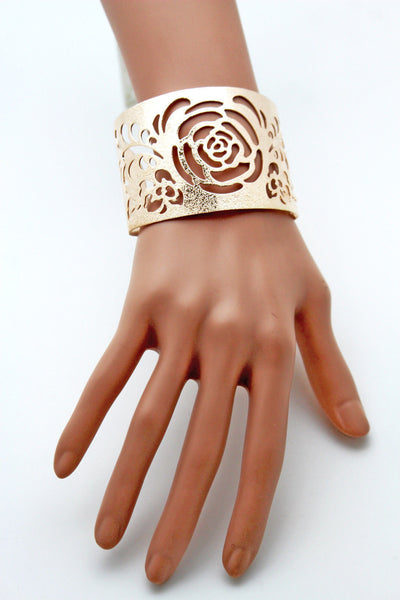 Gold Metal Cuff Cut Outs Adjustable Bracelet Light Flowers New Women Fashion Jewelry Accessories - alwaystyle4you - 6