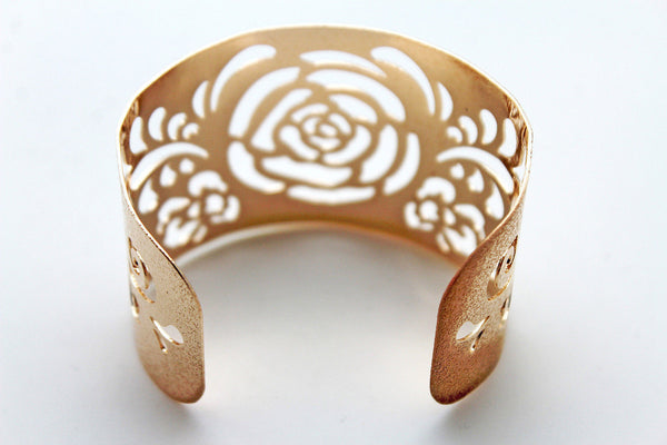 Gold Metal Cuff Cut Outs Adjustable Bracelet Light Flowers New Women Fashion Jewelry Accessories - alwaystyle4you - 7